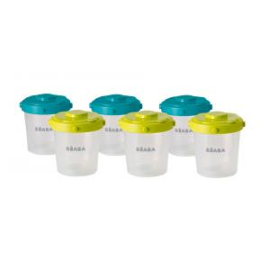 Beaba - 912482 - Lot de 6 portions clip 2ème âge 200ml (coloris assortis blue/neon) (348930)