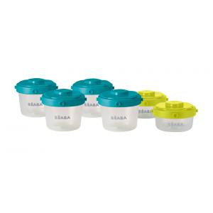 Beaba - 912481 - Lot de 6 portions clip 1er âge 60ml et 120ml (coloris assortis blue/neon) (348968)