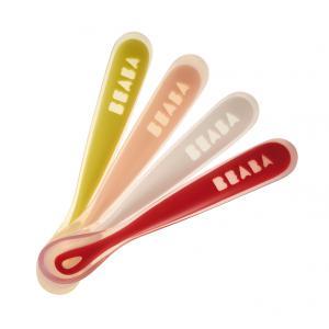 Beaba - 913414 - Lot de 4 cuillères 1er repas soft en silicone Bunny (coloris assortis neon/nude/white/red) (349024)