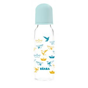 Beaba - 911611 - Biberon verre Origami 250 ml (coloris assortis bluenude) (349120)