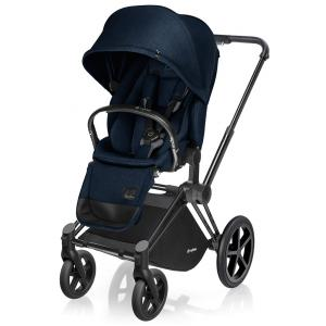 Cybex - BU32 - Poussette Priam Matt Black LUXE  Midnight Blue - navy blue roues trekking (mixte) (352308)