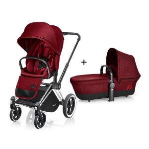 Cybex - BU77 - Poussette Priam Chrome LUXE Complète  Infra Red - red roues Tout-Terrain (352398)