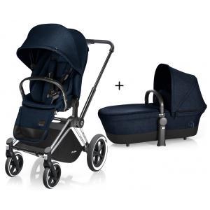 Cybex - BU78 - Poussette Priam Chrome LUXE Complète  Midnight Blue - navy blue roues Tout-Terrain (352400)