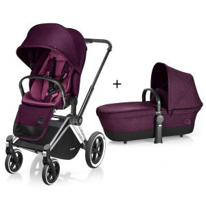 Cybex - BU81 - Poussette Priam Chrome LUXE Complète  Mystic Pink - purple roues Tout-Terrain (352406)