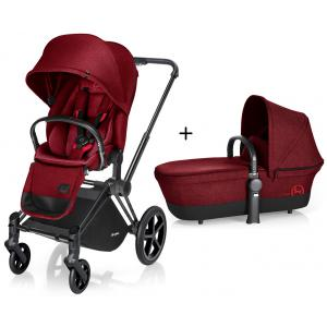Cybex - BU84 - Poussette Priam Matt Black LUXE Complète  Infra Red - red roues light (352412)