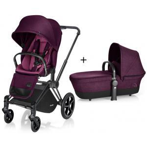 Cybex - BU88 - Poussette Priam Matt Black LUXE Complète  Mystic Pink - purple roues light (352420)