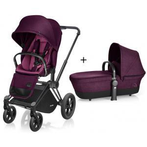 Cybex - BU102 - Poussette Priam Matt Black LUXE Complète  Mystic Pink - purple roues Tout-Terrain (352448)