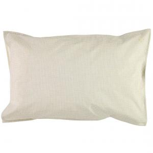 Camomile London - C06-2DC - taie d'oreiller imprimée Double Petits Carreaux ivoire/gris 75x50 cm (353230)