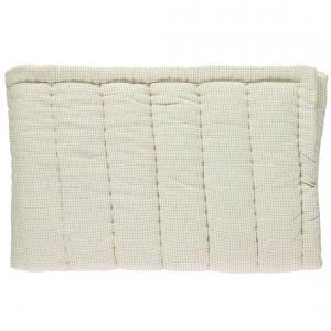 Camomile London - C12-2DC - Couverture matelassé brodée main réversible Double Petits Carreaux ivoire /gris (353262)