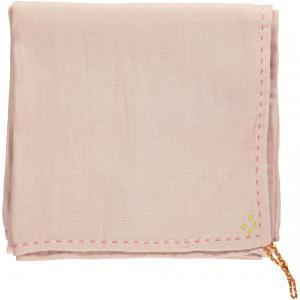 Camomile London - C24D-PA - Couverture légère bicolore brodée main rose-aqua (353266)