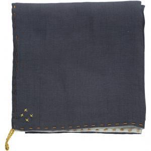 Camomile London - C24D-BGA - Couverture légère bicolore brodée main gris bleu-aqua (353268)