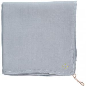 Camomile London - C24D-CBA - Couverture légère bicolore brodée main chambray-aqua (353270)