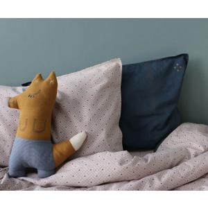 Camomile London - C30G- - coussin Foxy 29 cm ocre - carreaux chambray (353294)