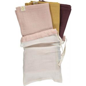 Camomile London - T1-GPW - Lot de 3 langes ocre -rose - aubergine et son sac 56x56 cm (353296)