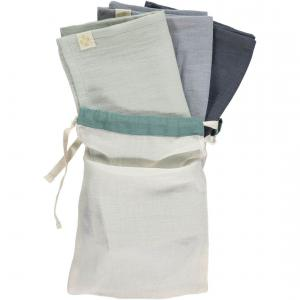 Camomile London - T1-CBBGA - Lot de 3 langes chambray - gris bleu - aqua et son sac 56x56 cm (353298)