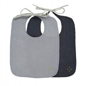 Camomile London - BIB2-CBBG - Lot de 2 bavoirs unis - Chambray - gris bleu (353308)