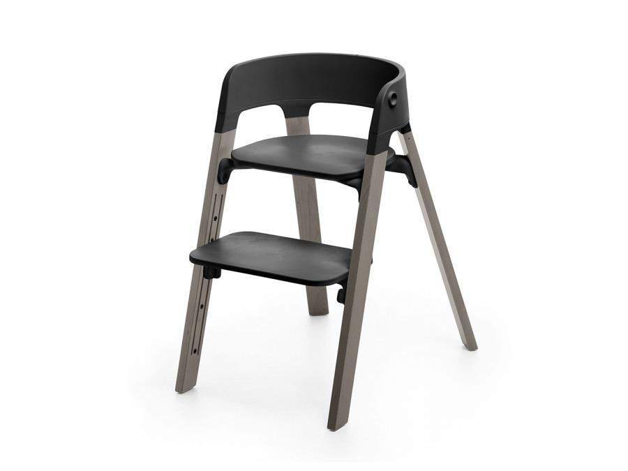 Chaise steps assise noire pieds en bois de hetre gris tempete for Chaise noir pied bois