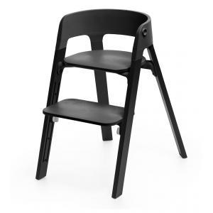 Stokke - BU09 - Chaise STEPS assise noire pieds en bois de  chene Noir (354778)