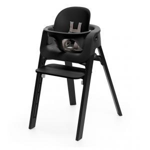 Stokke - BU08 - Chaise STEPS assise noire pieds en bois de chene Naturel (354780)