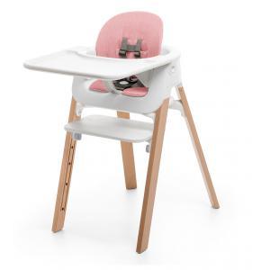 Stokke - BU07 - Chaise STEPS assise blanche pieds en bois de hetre Gris brume (354782)