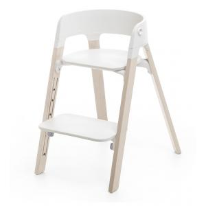Stokke - BU05 - Chaise STEPS assise blanche pieds en bois de hetre Blanchi (354786)