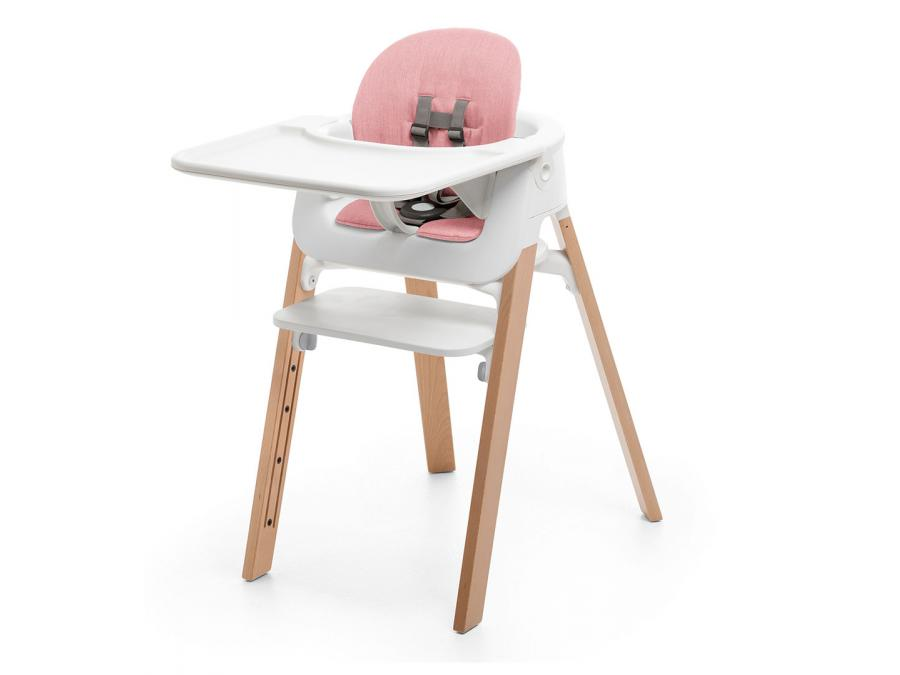 Chaise steps assise blanche pieds en bois de hetre blanchi for Chaise stokke