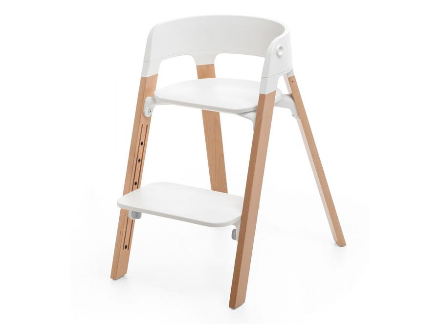 chaise haute stokke steps blanche et bois de hetre. Black Bedroom Furniture Sets. Home Design Ideas