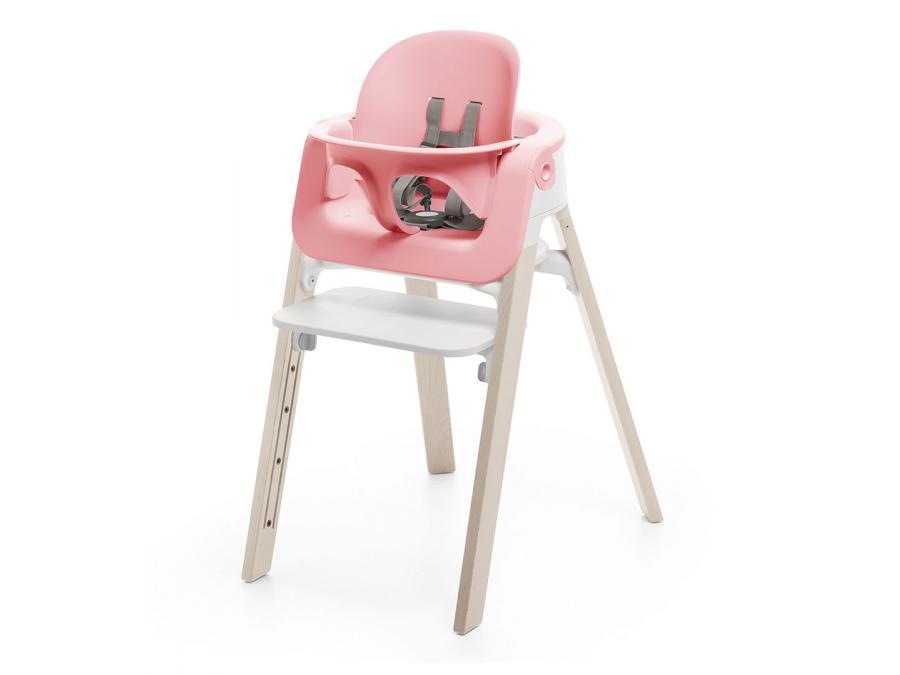 chaise steps assise blanche pieds en bois de chene naturel. Black Bedroom Furniture Sets. Home Design Ideas
