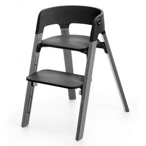 Stokke - BU11 - Chaise STEPS assise noire pieds en bois de hetre Gris brume (354812)