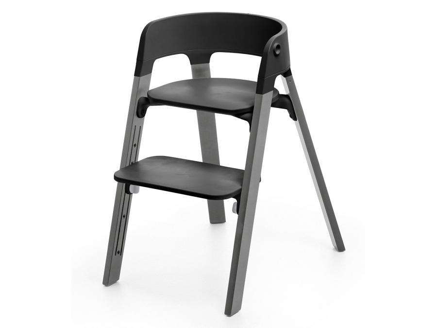 Chaise steps assise noire pieds en bois de h tre gris brume - Chaise pied bois assise plastique ...