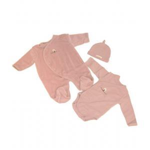 Coton biologique - 31353-18158 - Coffret pyjama, body et bonnet bebe en coton bio rose (357576)