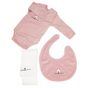 Coton biologique - 31357-18162 - Coffret body, bavoir et lange bebe en coton bio rose (357584)