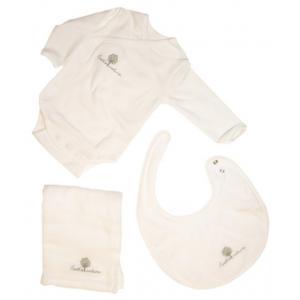 Coton biologique - 31355-18160 - Coffret body, bavoir et lange bebe en coton bio blanc (357588)