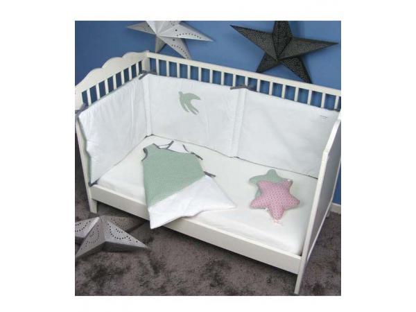 cmm oekotex tour de lit certifiee oekotex bouquet vert. Black Bedroom Furniture Sets. Home Design Ideas