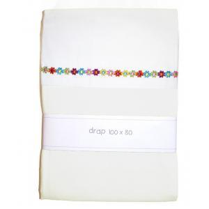 Cotton Baby - 38538-24213 - Drap 100 x 80 cm blanc imprime fleuri (357740)