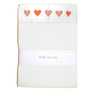 Kids Gallery - 38539-24214 - Drap 100 x 80 cm blanc avec coeurs orange (357890)