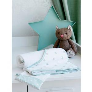 Laura Ashley - 39346-24942 - Cape de bain + Gant Rocking etoile bleu aqua (358074)