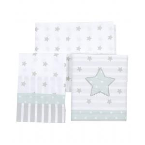 Laura Ashley - 39400-24991 - Set parure de lit 3 pcs ( 2 drap+1 taie) Rocking etoile bleu aqua (358212)