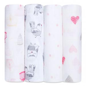 Aden and Anais - 2058G - MAXI-LANGE lot de 4 - lovebird-120x120cm (358688)