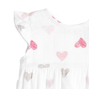 Aden and Anais - AA1027-SKHG-06G - Barboteuse-sketch hearts flutter sleeve romper (359088)