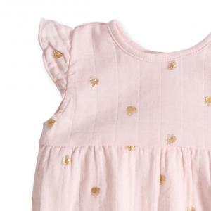 Aden and Anais - AA1027-WDPG-12G - Barboteuse-metallic primrose water dot flutter sleeve romper (359100)