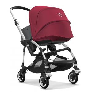 Bugaboo - BU089 - Nouvelle poussette Bugaboo Bee 5 avec nacelle gris chiné capote rouge rubis chassis Alu (363864)
