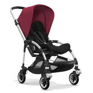 Bugaboo - BU089 - Poussette Bugaboo Bee5 Alu, nacelle gris chiné, siège noir, capote rouge rubis (363864)