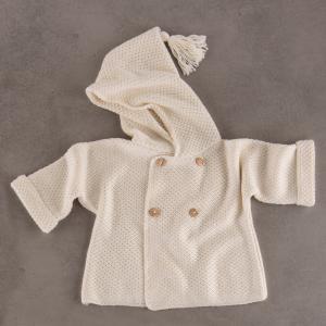Bamboo and Love - C22-912 - Manteau en maille à capuche crème 9-12M (364120)