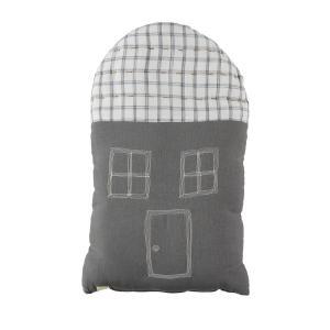 Camomile London - C20SIKI - Coussin maison imprimé carreaux gris foncé / ivoire - 29 x 47 cm (364194)