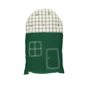 Camomile London - C17FIKI - Coussin maison imprimé carreaux vert forêt / ivoire - 24 x 38 cm (364204)