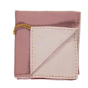 Camomile London - C24D BPP - Couverture légère bicolore rose / rose clair avec broderie dorée fait main - 105 x 105 cm (364254)