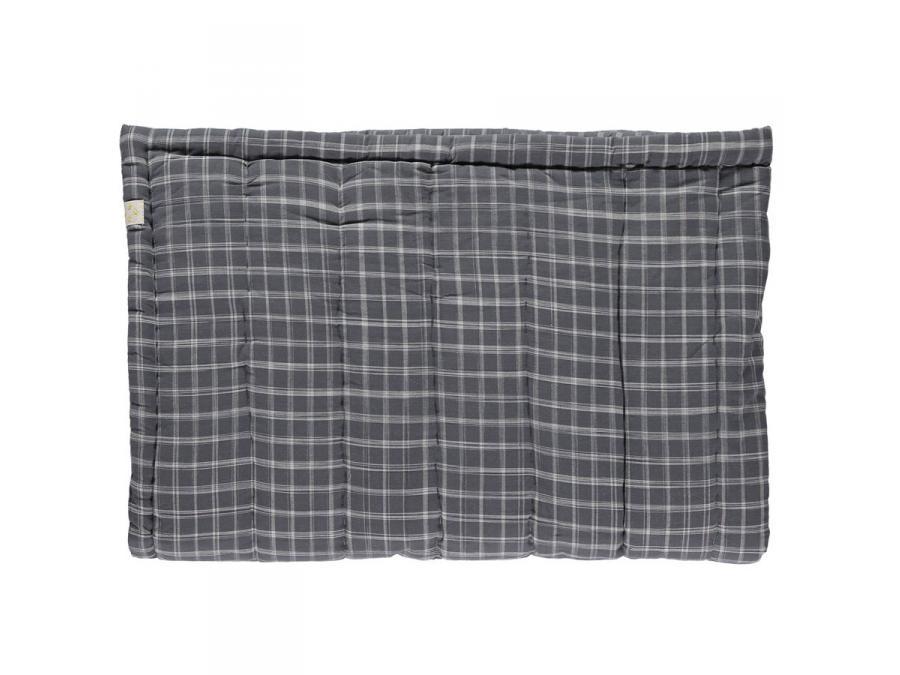 camomile london couverture matelass e brod e main imprim e carreaux gris 75 x 120 cm. Black Bedroom Furniture Sets. Home Design Ideas