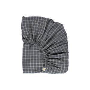 Camomile London - FS0IKP - Drap housse imprimé carreaux gris - 60 x 120 cm (364338)