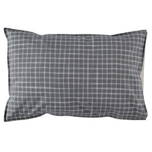 Camomile London - C06-1IKP - Taie d'oreiller imprimée carreaux gris - 60 x 40 cm (364344)